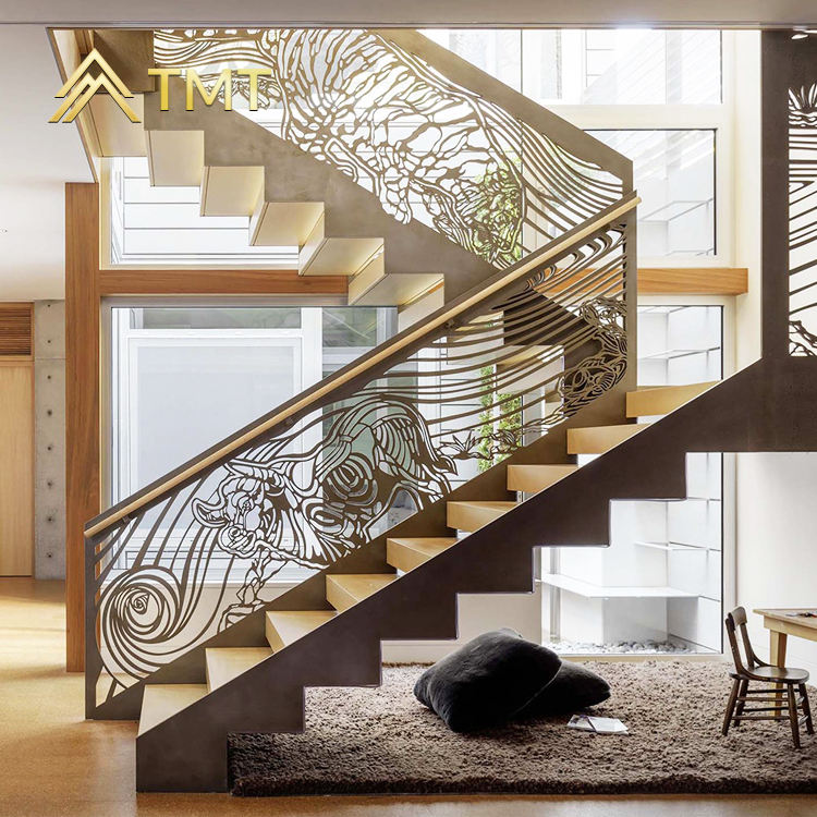 Decor interior metal stair handrail stainless steel railing baluster laser cutting metal railing panel indoor prefab stairs rail