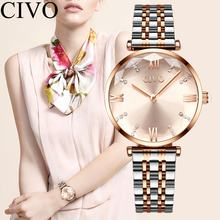 CIVO Simple Stainless Steel Strap Women Watches Waterproof Watch Diamond Quartz Wrist Watch For Women Reloj Mujer Ladies Clock