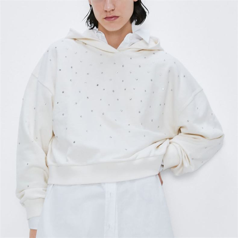 Fashion 100% cotton plain white rhinestone studs hoodie for women