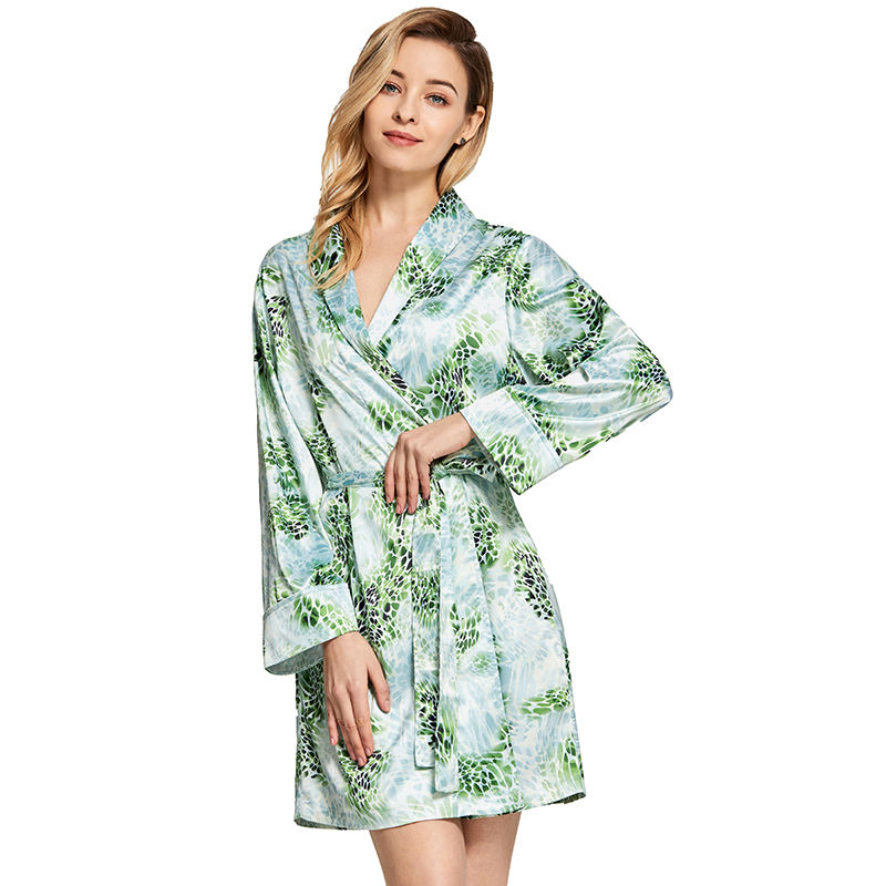 2020 spring summer latest digital printing thin sexy nighty bathrobe women