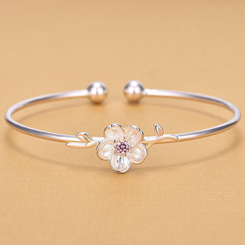 Solid 925 Sterling Silver Pink Stone Cherry Blossoms Open Adjustable Bangles For Women Gifts Jewelry