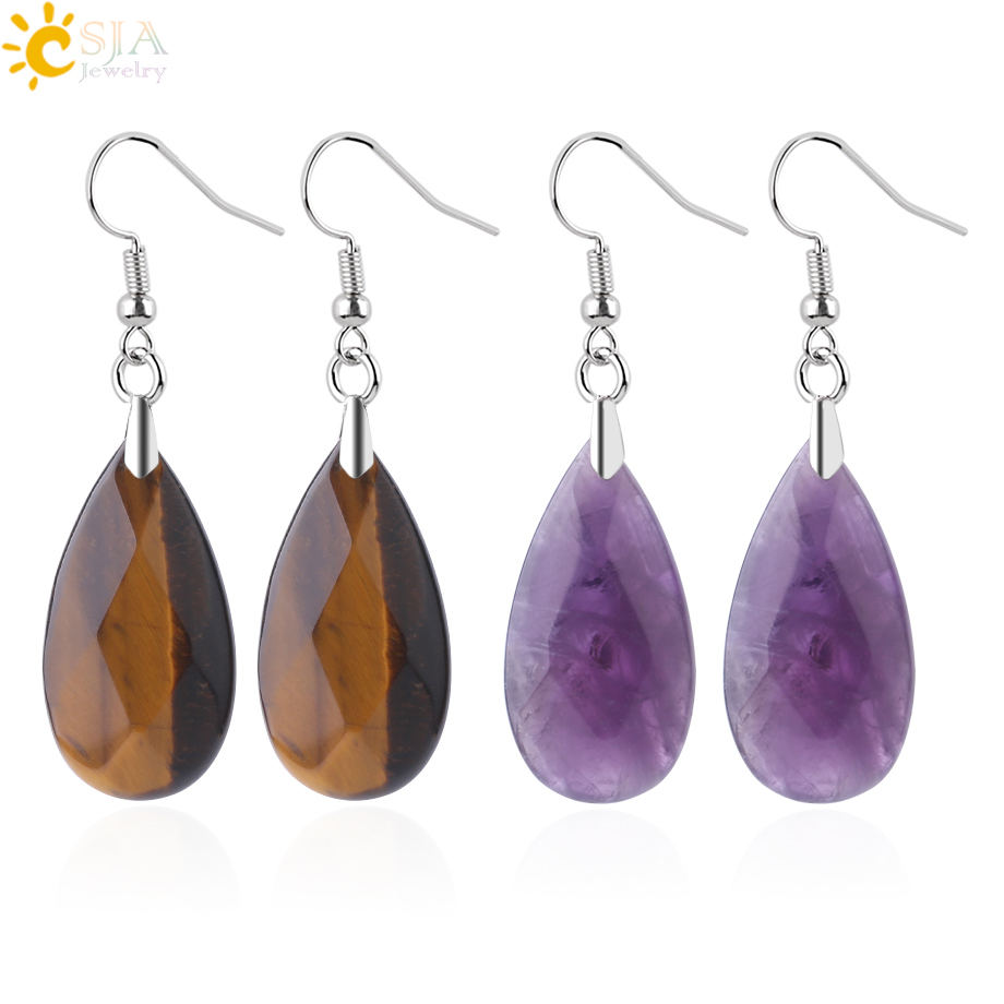 CSJA fancy teardrop shaped drop earring for women natural stone multi-faceted beads pendant crystal quartz fishhook earring F867