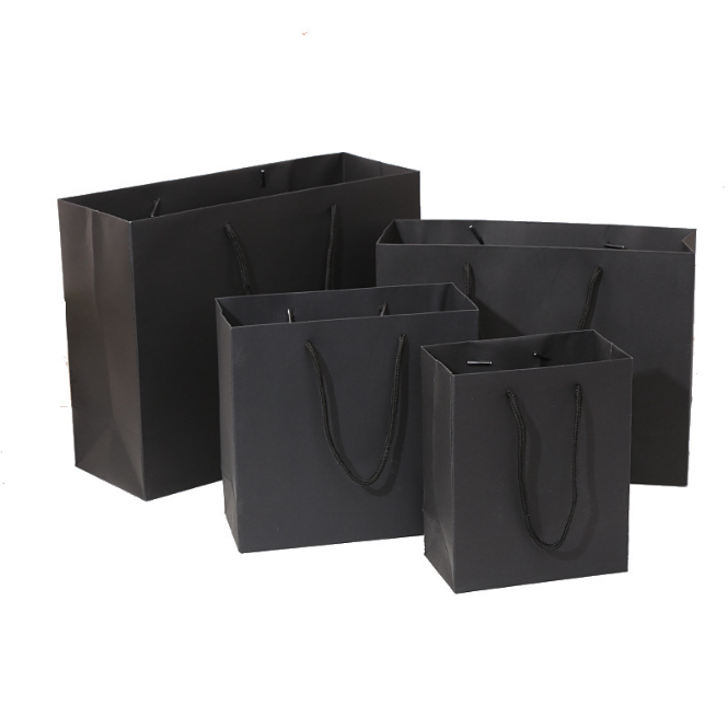 Custom Printed Black High Quality Paper Gift Bag Wholesale