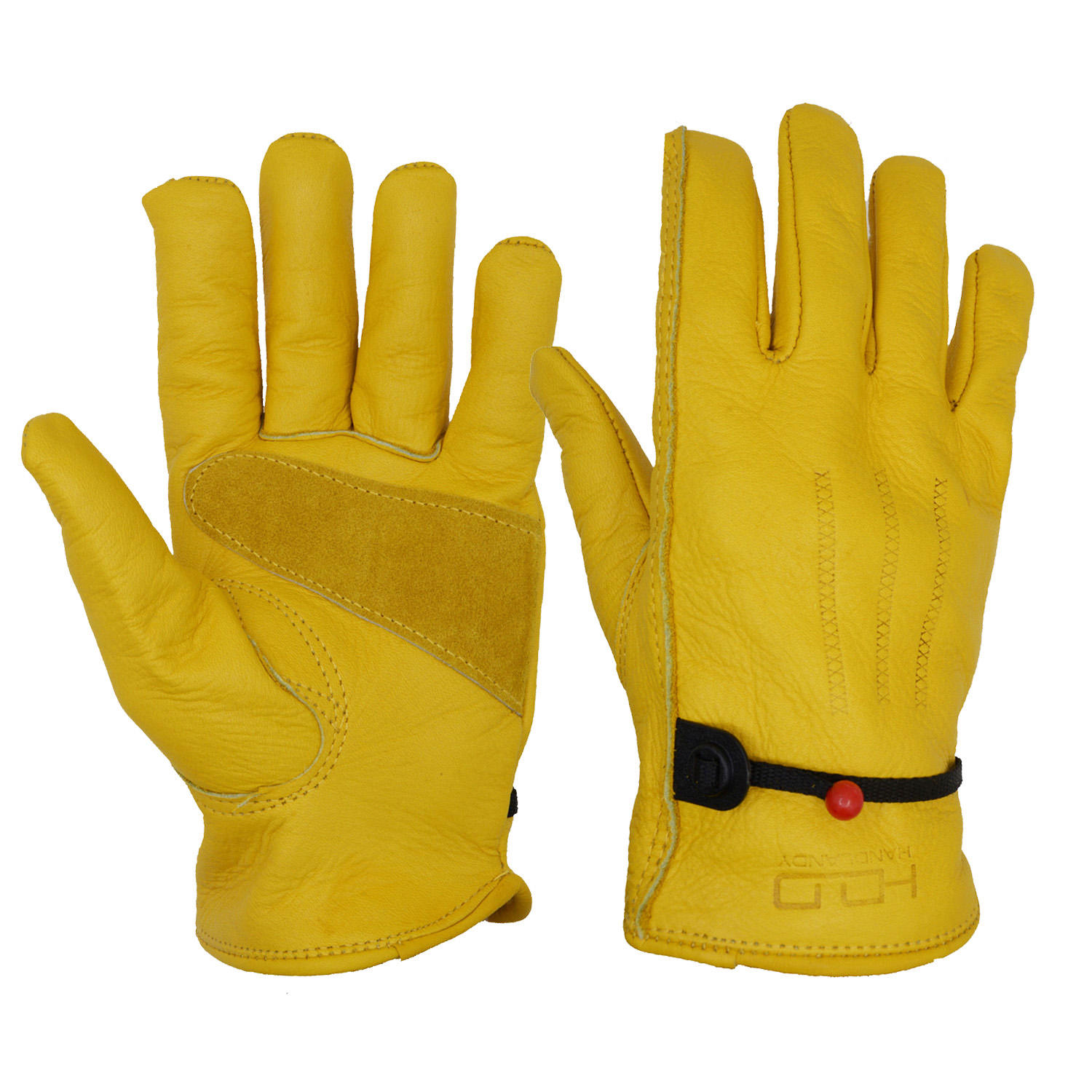 Premium Yellow Full Grain Cowhide Forklift Truck Leather Driver Gloves,leather working gloves