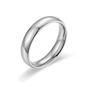 Polished 4mm Ring Simple Jewelry Stainless Steel Rings for Women Men