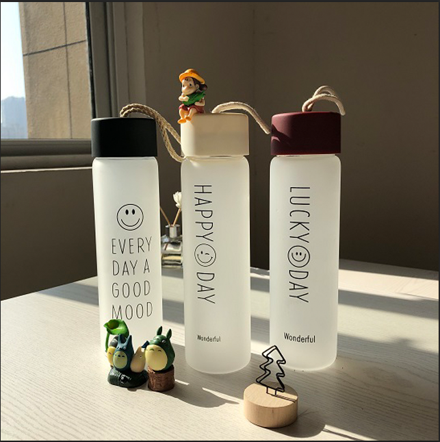 2021 Sustainable Eco -friendly Products BPA FREE frosted glass water bottle for gift or girl friend
