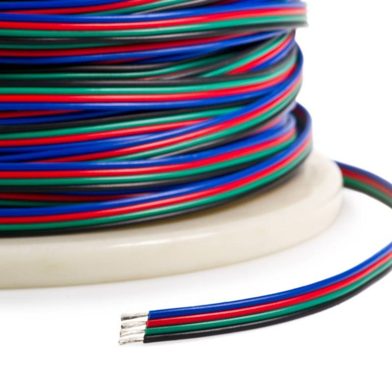 4Pin PVC Insulated Wire 22AWG RGB Extension Cable Wire for RGB 5050 3528 LED Strip Light