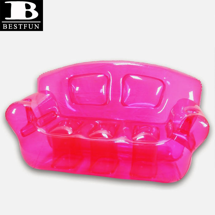 durable plastic custom double inflatable sofa pink bubble inflatable couch fold up double couches furniture