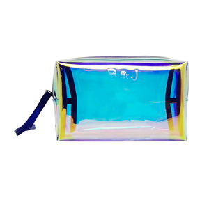 Custom Travel Toiletry Luxury Wholesale Clear Holographic Cosmetic Bags Cute Transparent Zip Make Up Cosmetic Bag