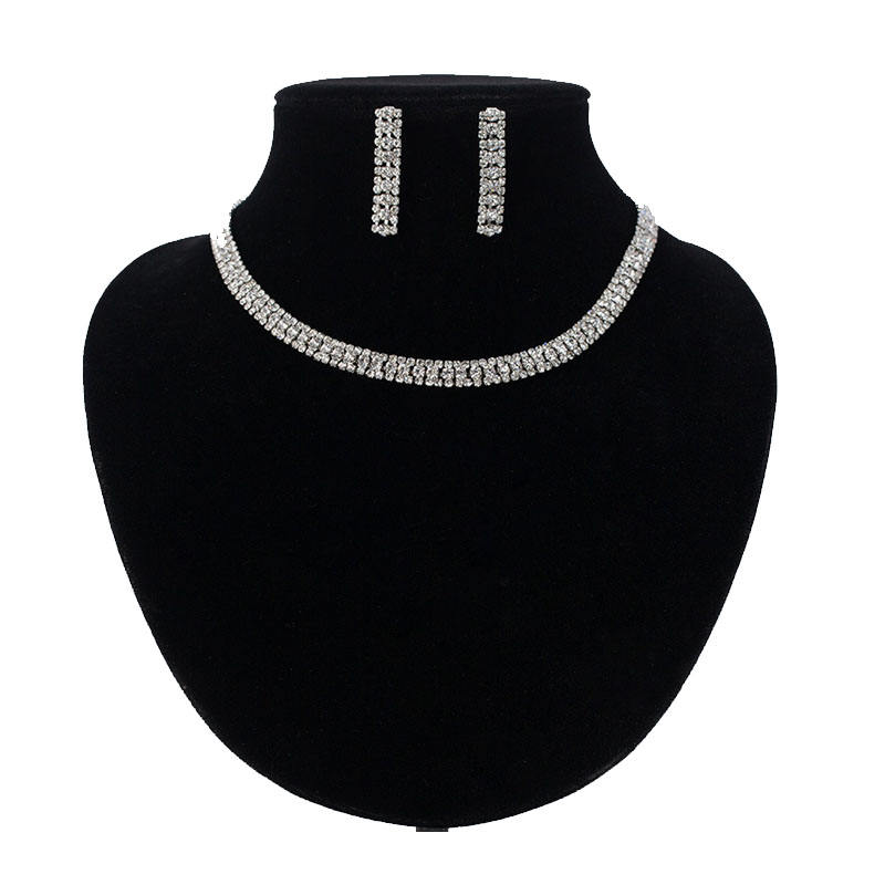 Classic Fashion Full Crystal Glass Stone Necklace Sets Jewellery For Girls