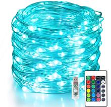 100 LED 33 FT Christmas Lights USB Plug in String Lights, 16 Colors Changing Silver Wire Firefly Lights with Remote Control