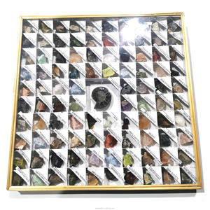 Natural beautiful irregular crystal rock stone and Conch Fossil mineral specimen photo frame box for sale