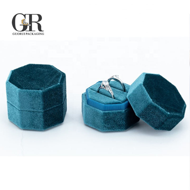 Guorui Custom velvet luxury design jewelry packaging octagonal wedding Ring box