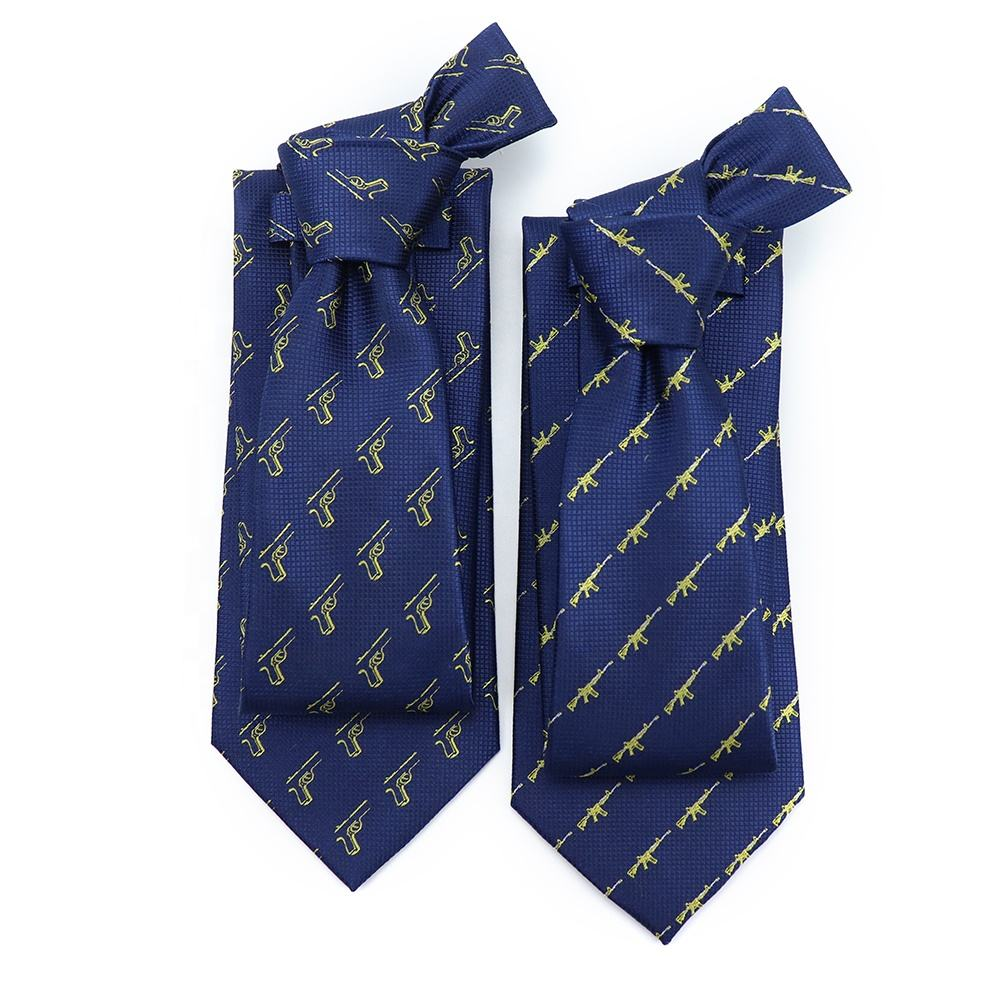 Custom 100% Silk Royal Blue Decoration Necktie Golden Guns Woven Logo Tipping Tie High Quality Luxury Neck Ties for Men