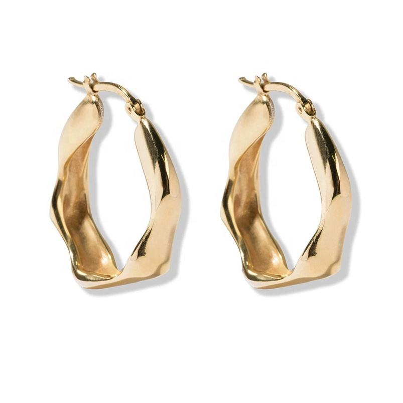2021 dainly wear gold plated twisted chunky hoop statement earrings women