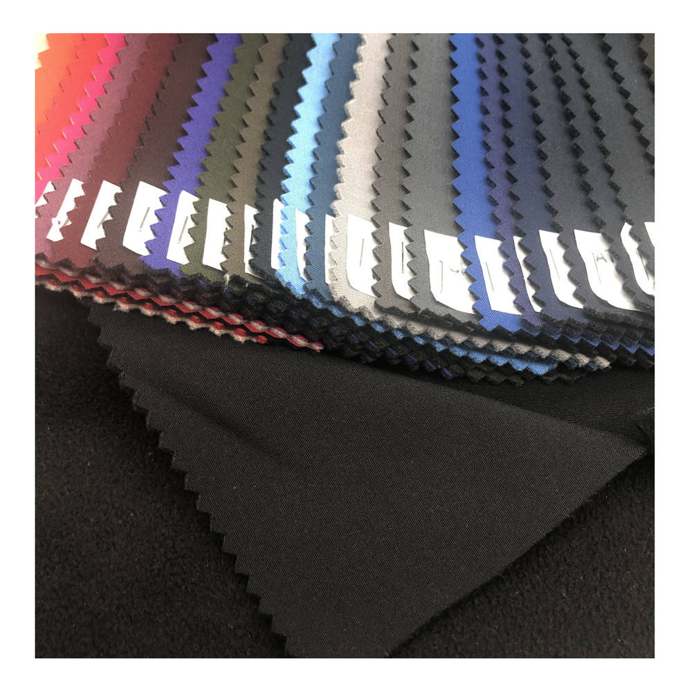 Polyester/Spandex pongee fabric with TPU membrane bonded 100% polyester polar fleece for softshell wear
