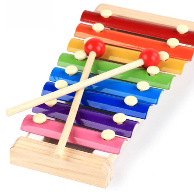 children musical instrument play set toy 8 note key color hand knocks wooden xylophone for kids