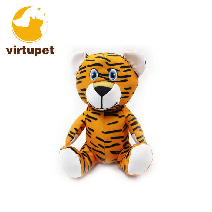 Custom Durable Tiger Shape Pet Dog Plush Toy Squeaky Chew Toy