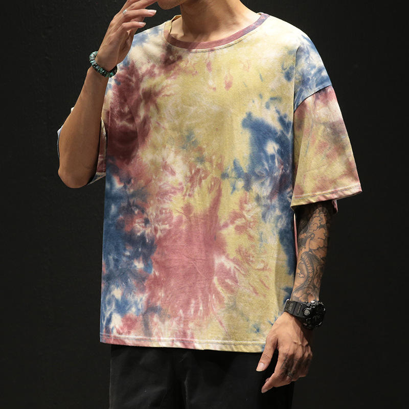 2019 Wholesale Manufacture Fashion Tie Dyeing T Shirt Low MOQ OEM street style tie dye T shirts for men