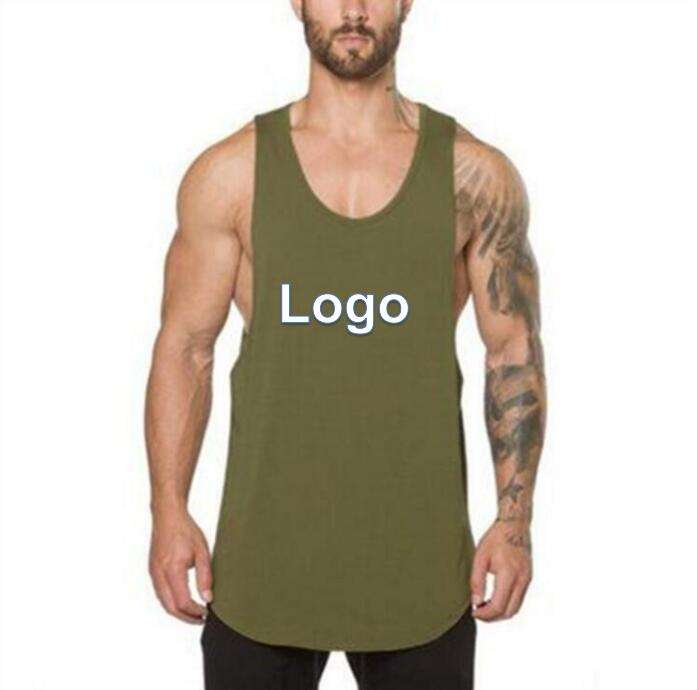OEM Custom Fashion Pure Color Men Sports Vest Fit Running Fitness Sleeveless Shirt