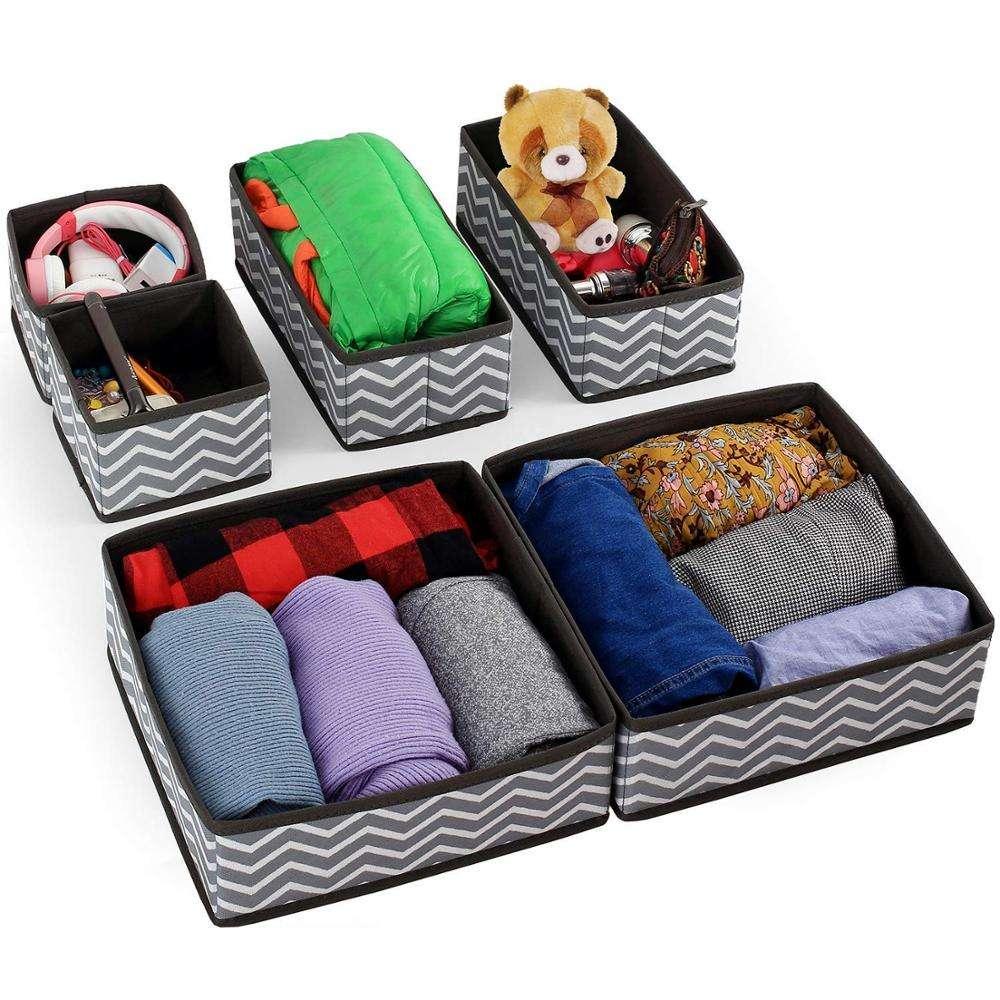 High Quality Set of 6 Closet Foldable Fabric Underwear Dresser Drawer Organizer
