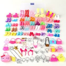 70PCS Fit 11.5 inch Doll Shoes jewelry Furniture Heels Accessories Toys for Girl