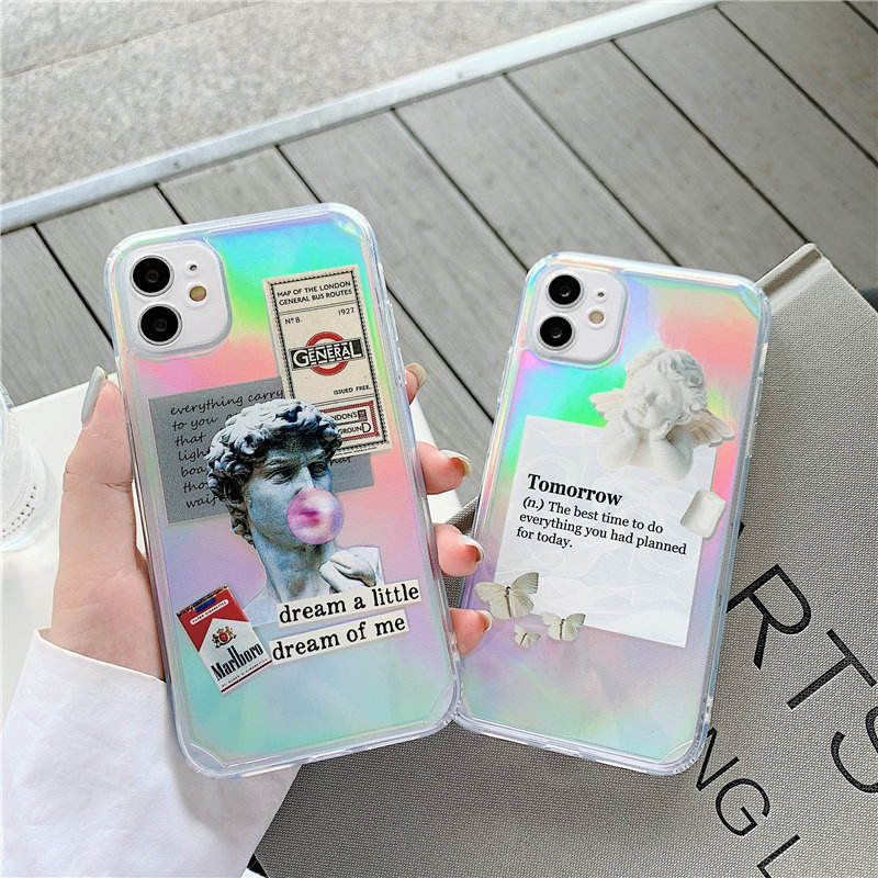 Laser David and Angel Motivational Poster Shockproof TPU Phone Case For iPhone 12 mini pro max 11 XS XR 7/8