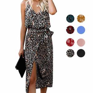 Di modo Sling Leopardo Wrap delle Donne Sexy Midi Dress