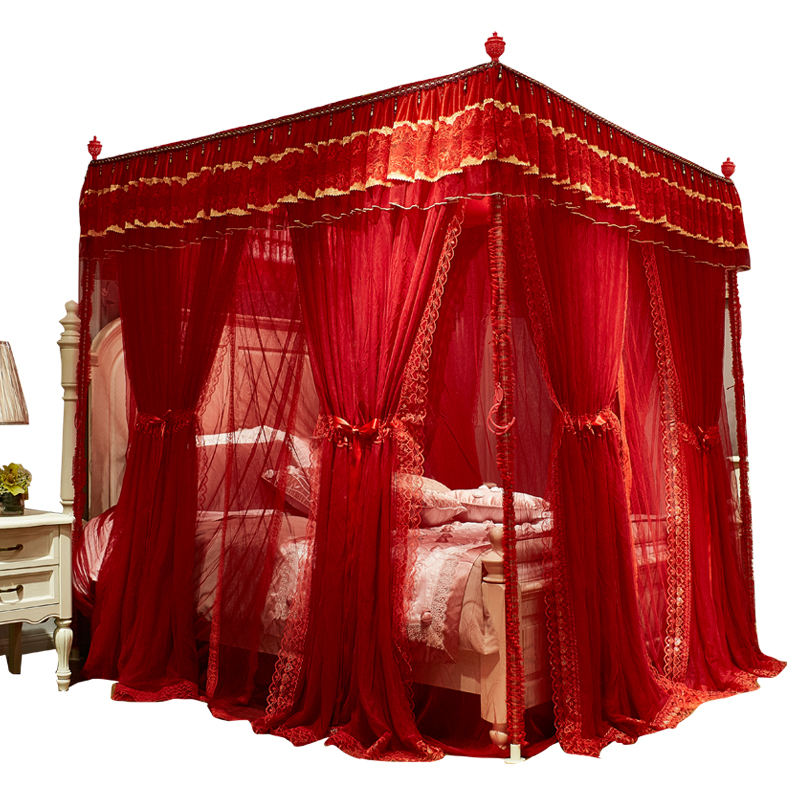 Luxury Exquisite Workmanship Wedding Square Stainless Steel Lace Embroidery Red Bed Mosquito Net