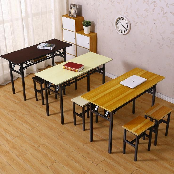 Rectangle meeting room training table folding conference study desk and chair metal frame for office school
