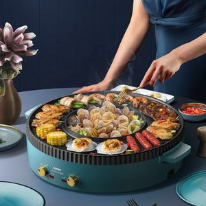 Multi-functional non stick 2020 indoor electric grill with hotpot