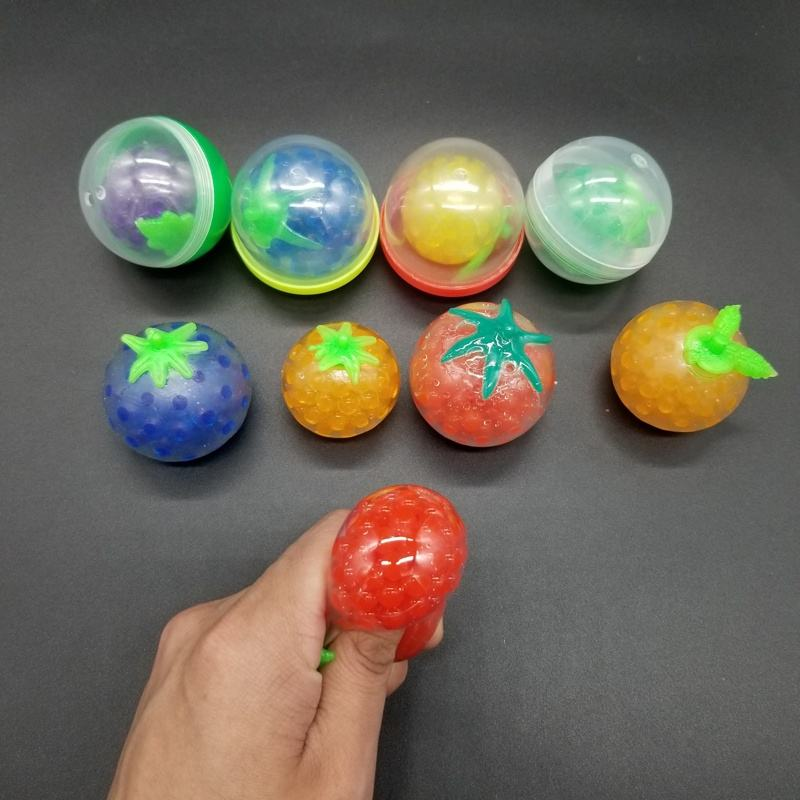 Small Promotional Gift 4.5CM Mini Ball Capsule Toy Squishy Sticky Stretchy Fruit Beads Jelly Ball Stress Squeeze Ball