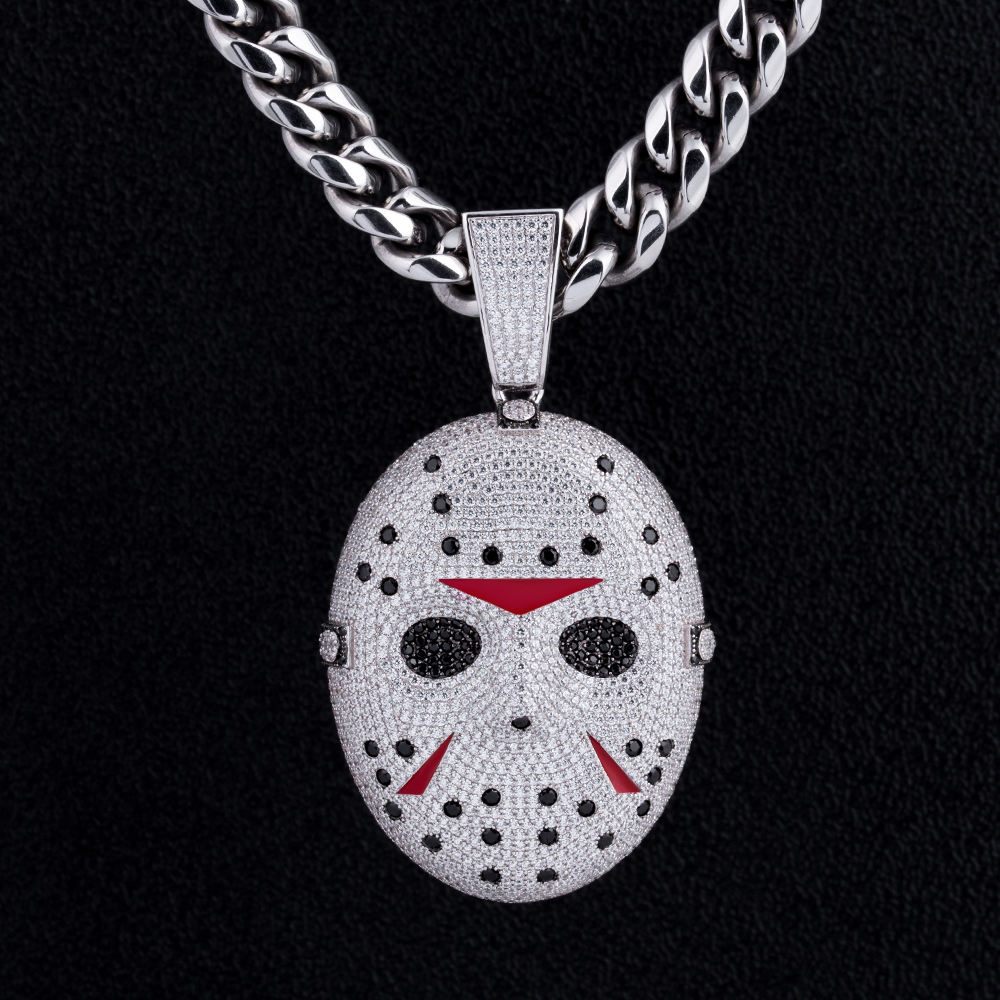 KRKC & CO Horror Halloween sieraden Mens Iced Out Custom Hanger Jason Voorhees Masker Hanger Custom Hanger