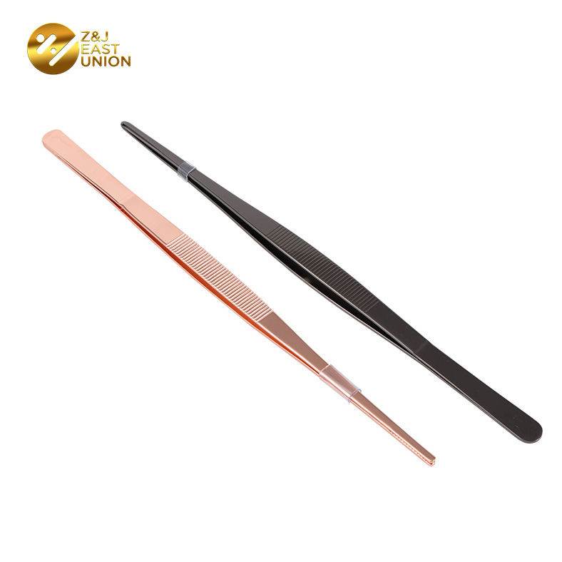 Long 30cm Stainless Steel Kitchen Chef Tweezers Sets Food Tong with Serrated Tips for Cooking