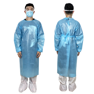 Aibeili Blue Impervious Isolation Surgical Gown Full Encirclement Non Sterile Disposable Surgical Gowns With EN13795