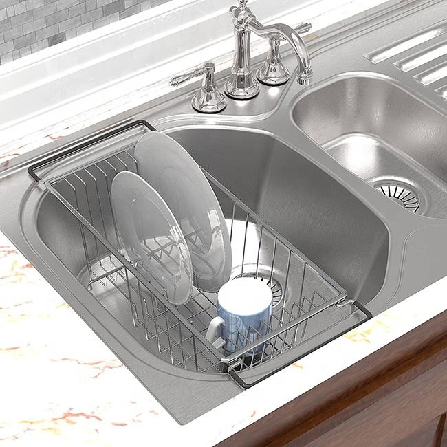 Hotsale Dish Holder Metal Wire Chrome Plated Modern Kitchen Storage Dish Drying Rack Chrome Dish Rack