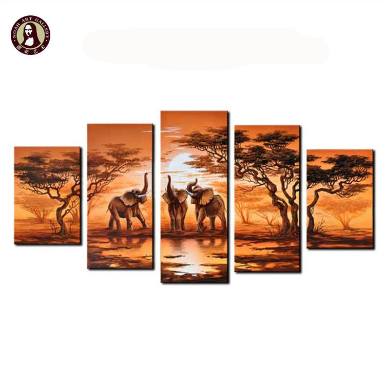 5 Wall Decoration Panel Animal Elephant African Wall Art Picture For Hotels Decorative Paintings