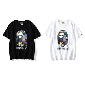 New Arrival Fashion BAPE New Design Round Neck T Shirt Luminous Camo Monkey Head Tshirt Branded T Shirts Cheap