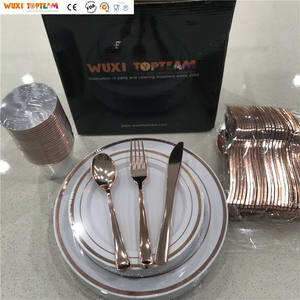 150 Piece Rose Gold Disposable Plastic Plates Cup Tableware Set for Wedding Birthday Party