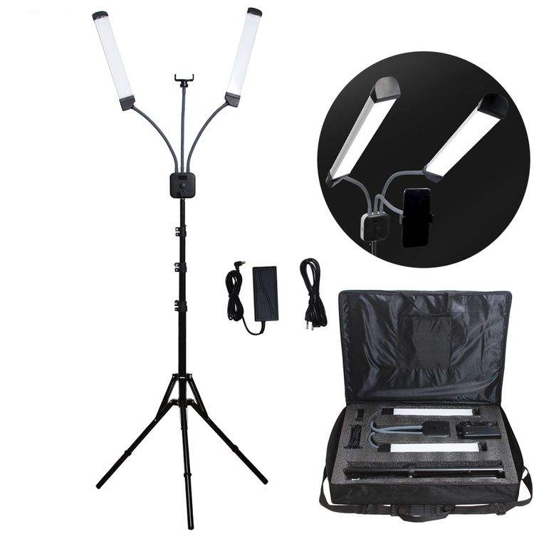 Photographic Lighting makeup Double-arm Video Fill Light Two Tube LED Makeup Phone Camera Lamp with Tripod for live broadcast