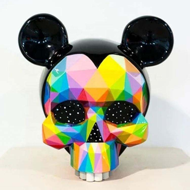 Customized art Geometry animal life size resin colorful skull sculpture fiberglass Mickeys skull Skullcandy statue