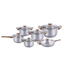 Color Bakelite Handle Capsuled Bottom Induction Cooker 12pcs Cookware Set Stock Pot Set Stainless Stock Pot with Lid