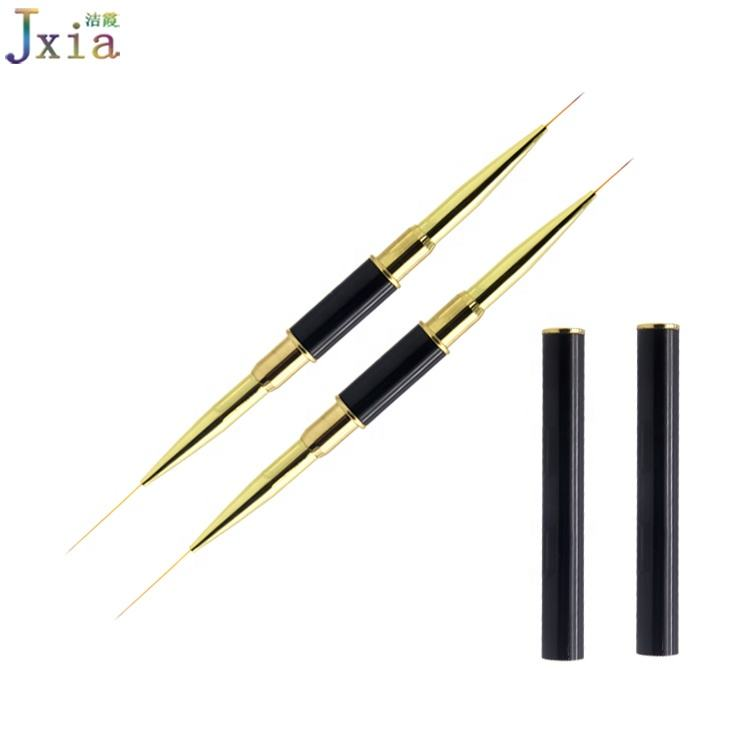 Jiexia Black Metal Handle Gold Ferrules Double Sides UV Gel Liner Paint Brush for Nails
