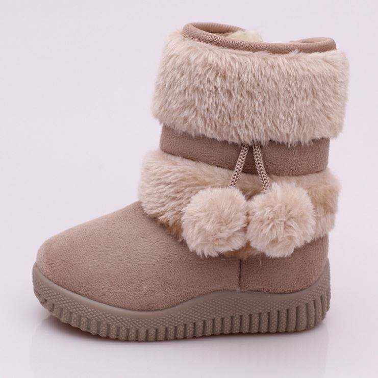 Dogeek winter girls childrennon-slip kids thick fur shoes hairball baby cotton snow boots