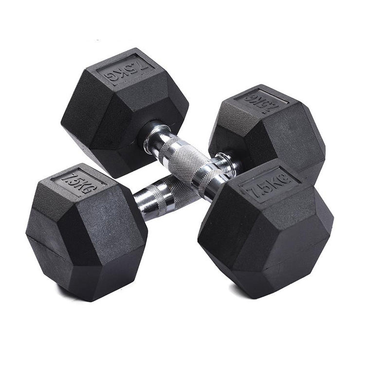 Cross Fit Gym Equipment Weight Lifting Rubber Coated Hex 10キロDumbbell Set