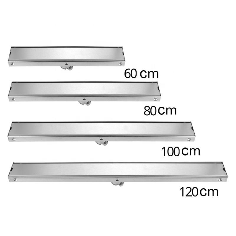 Customize different sizes stainless steel sus304 concealed invisible tile insert bathroom long linear floor drain
