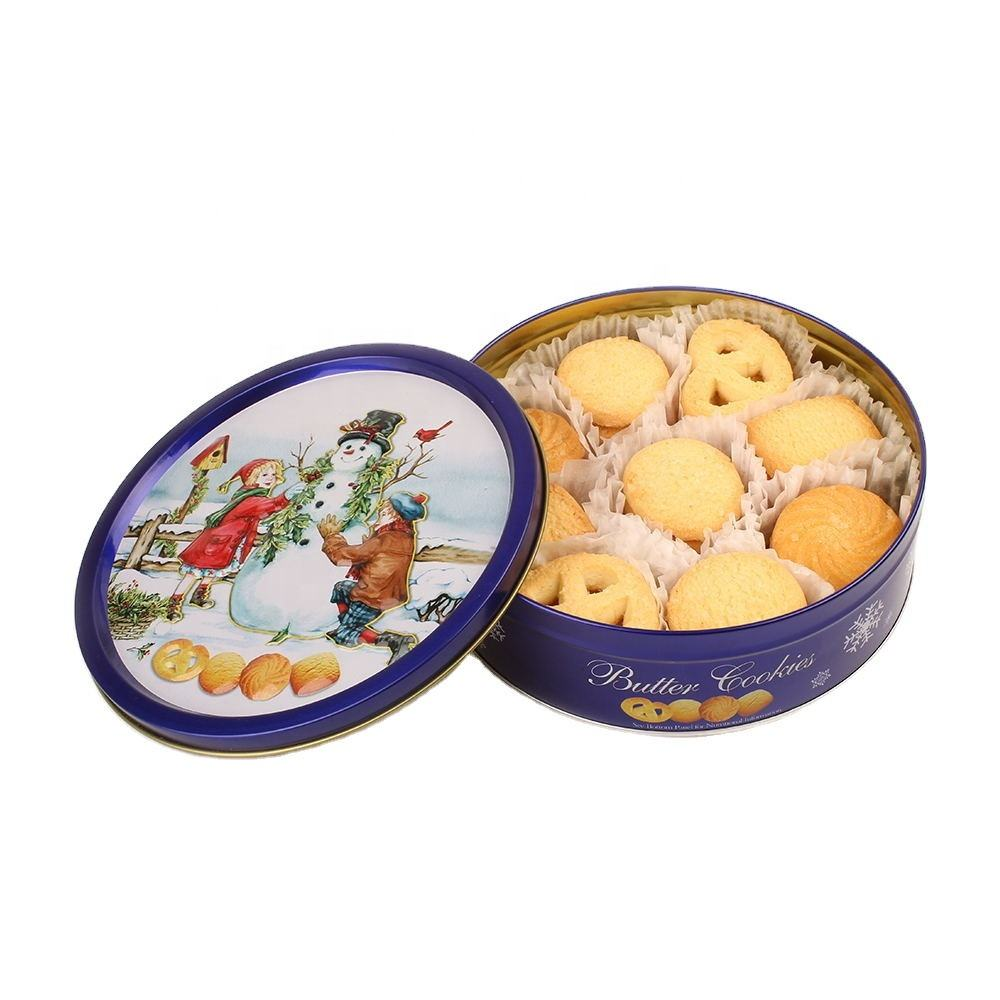 Food grade round custom printed christmas tin butter cookies