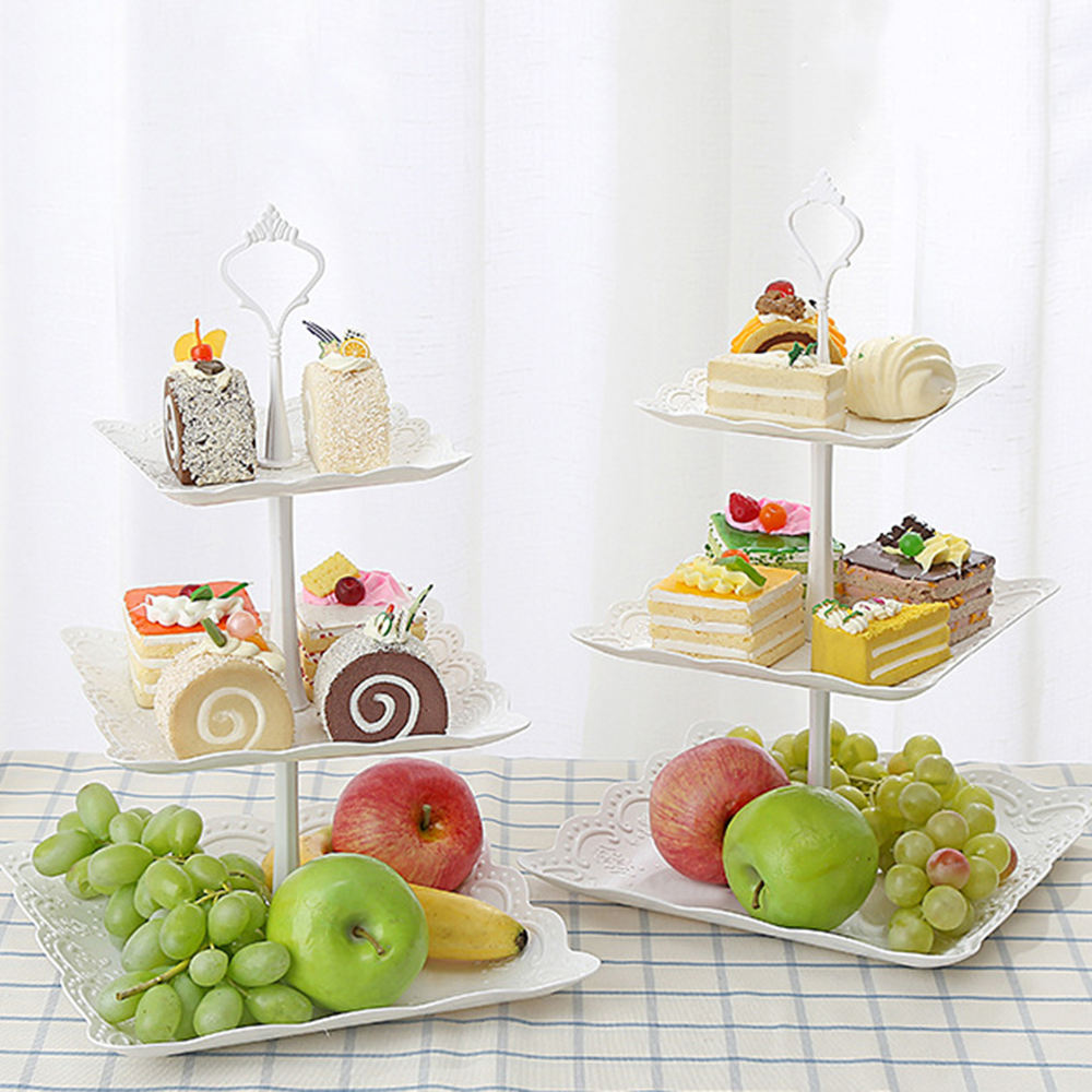 3 Tier Cake Stand Cupcake Dessert Display Tower Party Decoration Dessert Table Square/Round