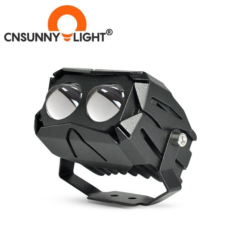 Motorbike LED Projector Headlamp Assembly Spot Fog Lights Dual Color Motor Bike Moto Cycle Motorcycle Lighting System Headlight