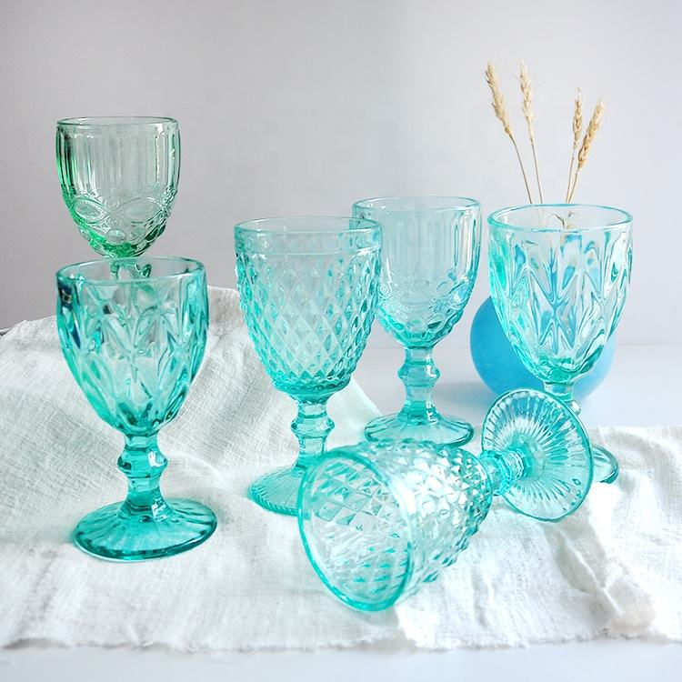 One-Stop Service Cheap Glass Goblet Wholesale Black/blue/purple/green Wine Glasses Water Embossed Glassware Set